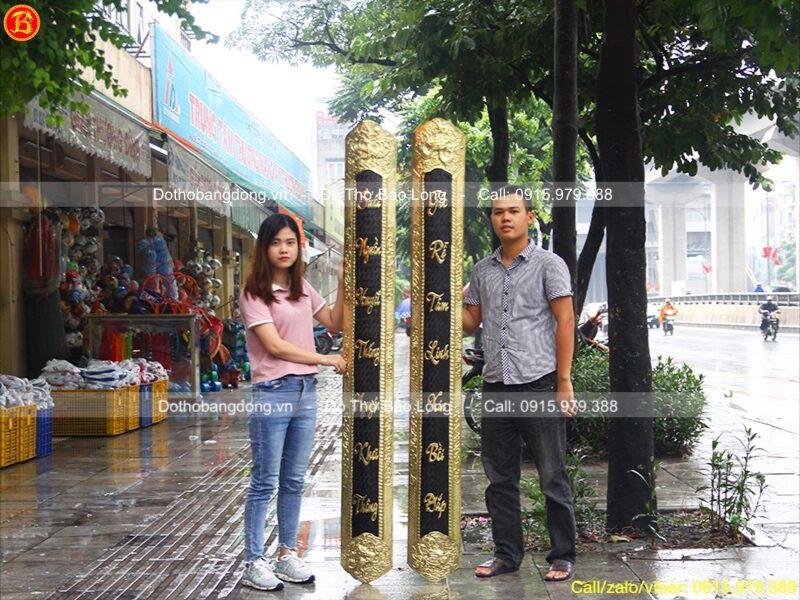 đôi Câu đối ốp cột bằng đồng vàng 1m97