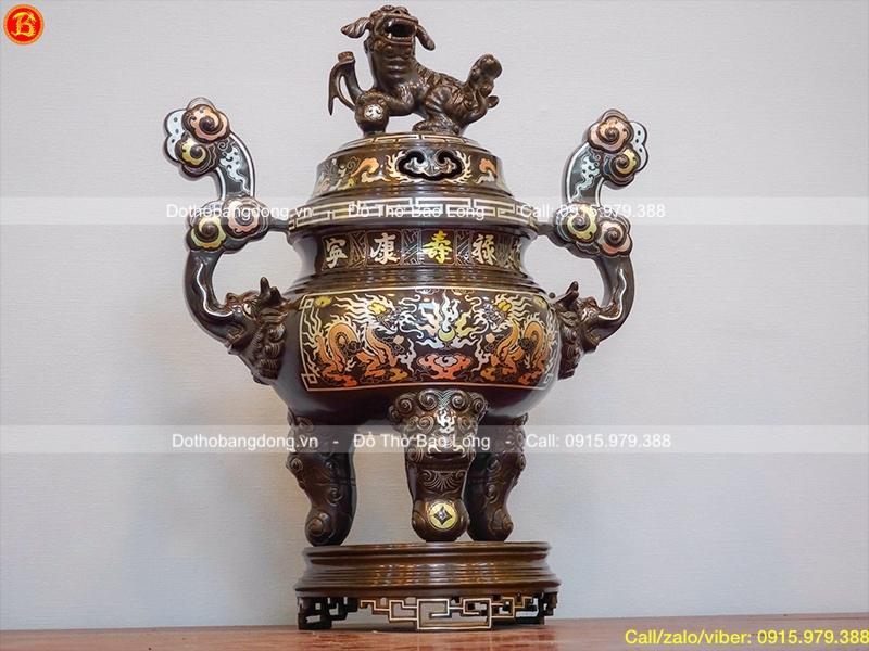Đỉnh thờ cúng bằng đồng khảm tam khí khảm 5 chữ vàng 50cm