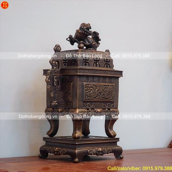 Đỉnh thờ bằng đồng vuông rồng nổi tai triện màu giả cổ 50cm