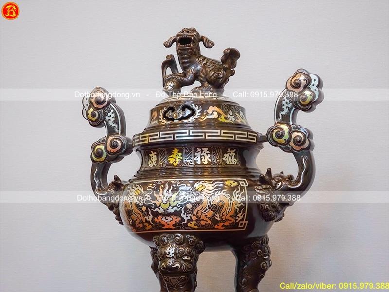 Đỉnh thờ cúng bằng đồng khảm tam khí khảm 5 chữ vàng 50cm2