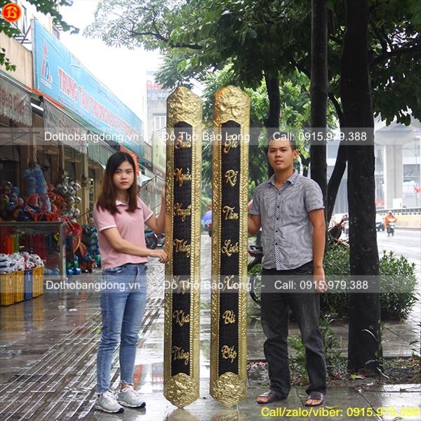 Đôi Câu đối ốp cột bằng đồng vàng 1m97 hàng đặt