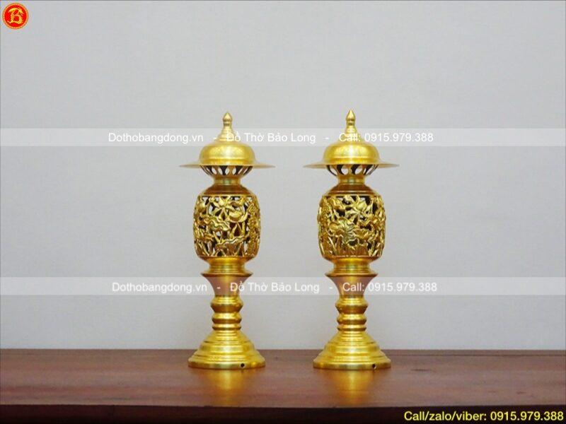 đèn thờ quả dứa dát vàng 9999 cao 42cm
