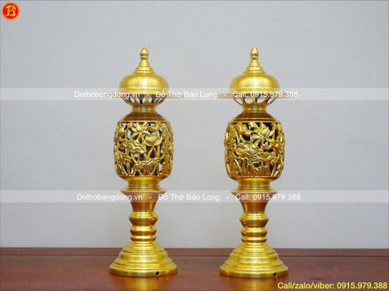 đôi đèn thờ quả dứa dát vàng 9999