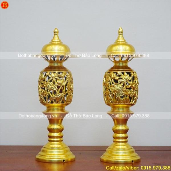 Đôi Đèn thờ Quả Dứa dát vàng 9999 cao 42cm