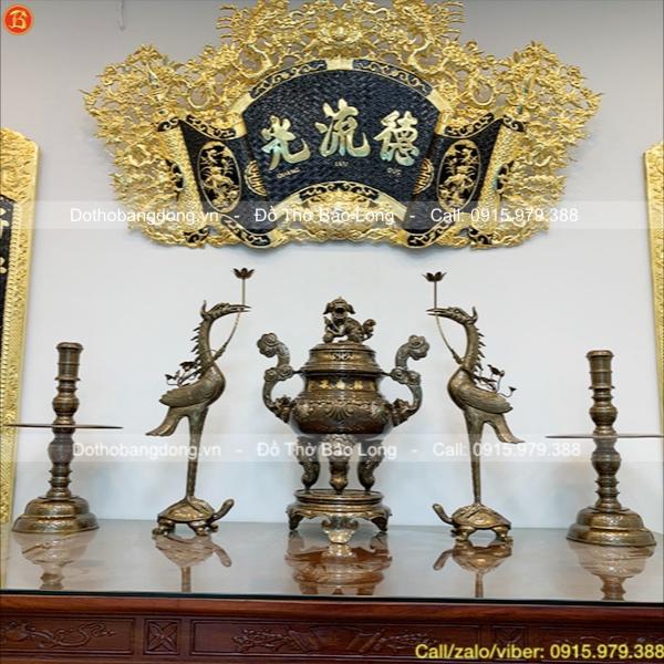 Bộ Ngũ sự đỉnh Sòi khảm vàng 70cm chất liệu Catut