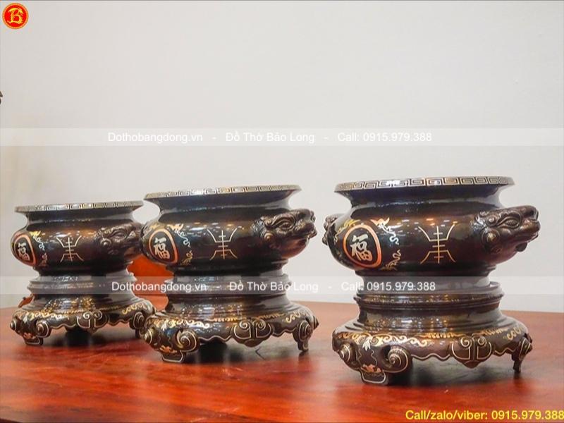 Bát Hương mẫu cổ khảm Tam khí cao 23cm