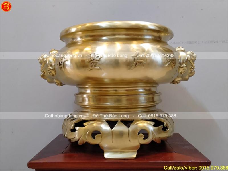 Bát hương tai Voi mẫu cổ bằng đồng Catut 40cm