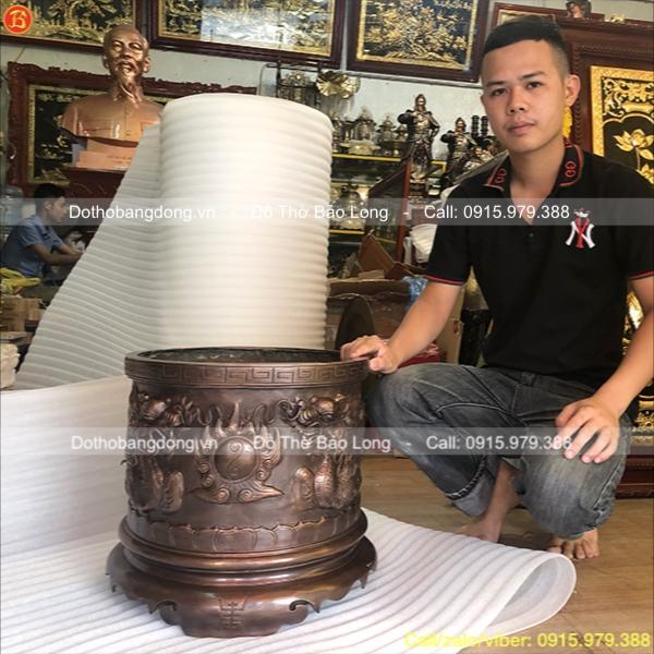 Bát hương đồng cúng tiến màu giả cổ Đk 42cm