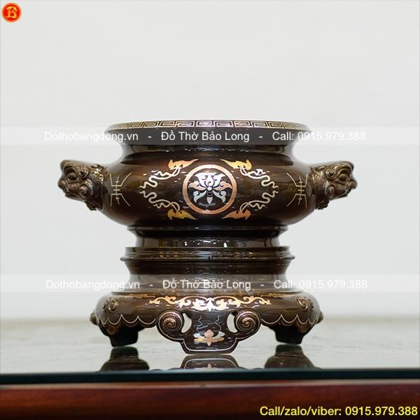 Bát Hương khảm Tam khí Hoa sen mẫu cổ 23cm