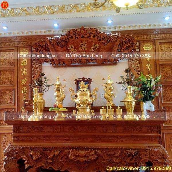 Bộ Đồ thờ dát vàng 9999 70cm cho khách Tp. HCM