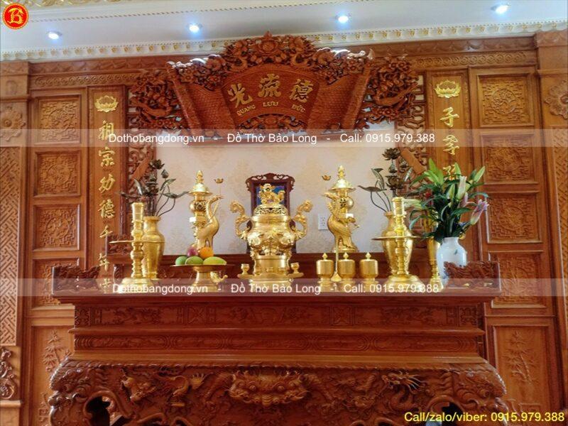 bộ đồ thờ dát vàng 9999 70cm