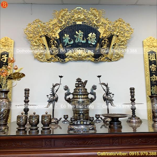 Bộ Đồ thờ đầy đủ khảm Ngũ sắc thích thước 60cm