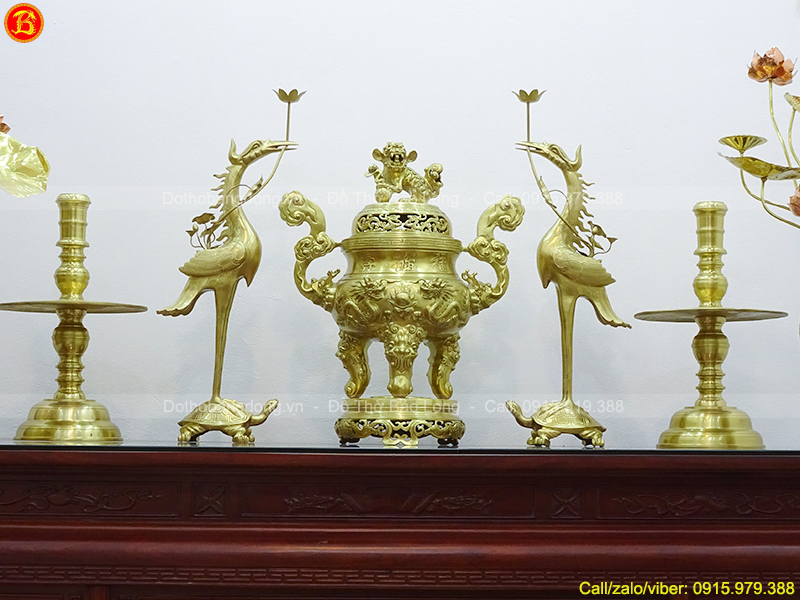Bộ Ngũ sự Long Phụng 70cm và đôi Lọ Hoa Tứ Quý 50cm