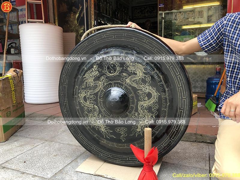 Chiêng đồng Đk 80cm ám hoa văn Rồng chầu nguyệt