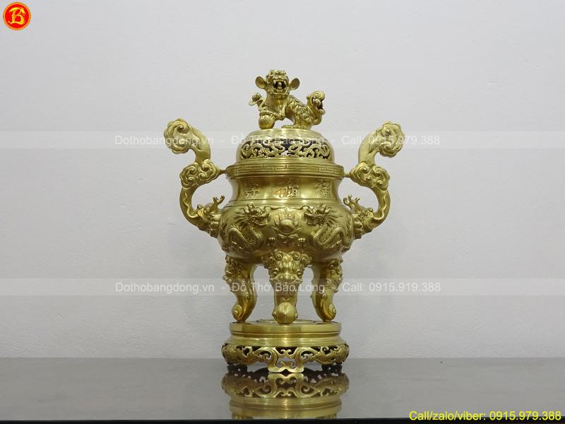 Đỉnh thờ đúc Rồng nổi cao 70cm bằng đồng Catut