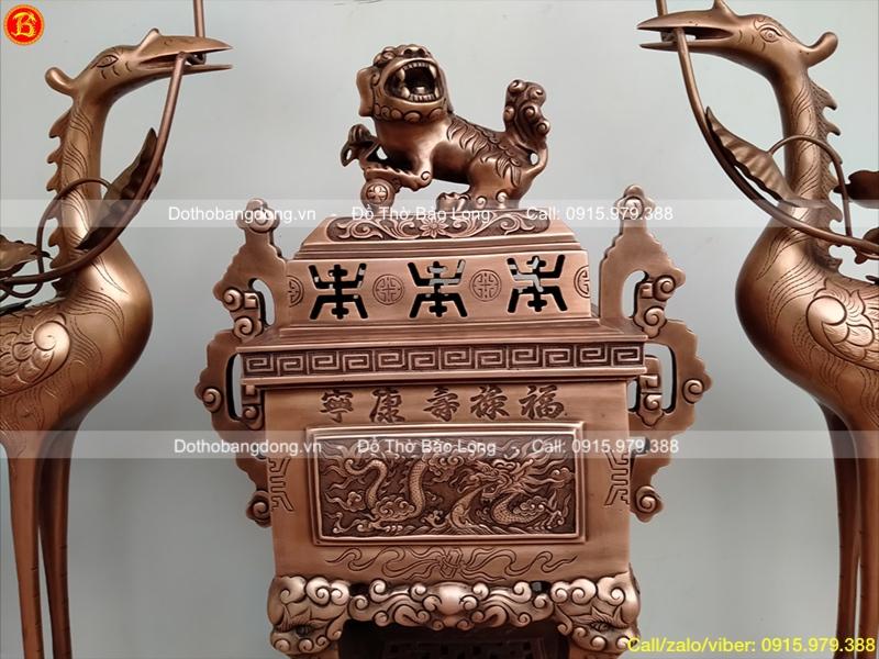 Bộ Tam sự đỉnh hạc Tứ Linh bằng đồng đỏ giả cổ 50cm