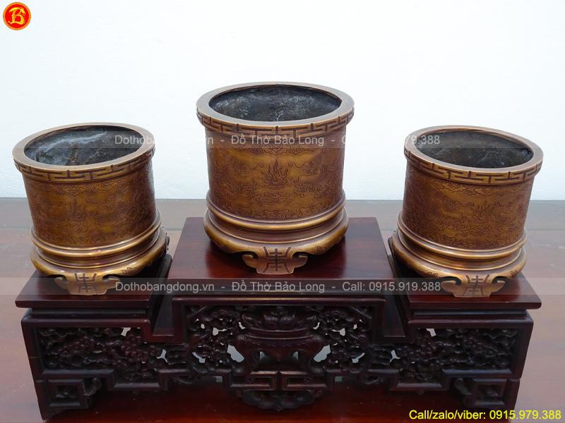 Bộ 3 Bát Hương Bằng Đồng Đỏ Ám Hoa Văn Đk 18cm, 20cm