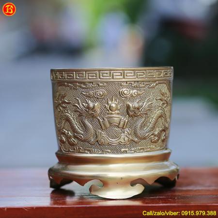 Bát Hương Thờ Bằng Đồng Thau 16cm Màu Vàng Mộc